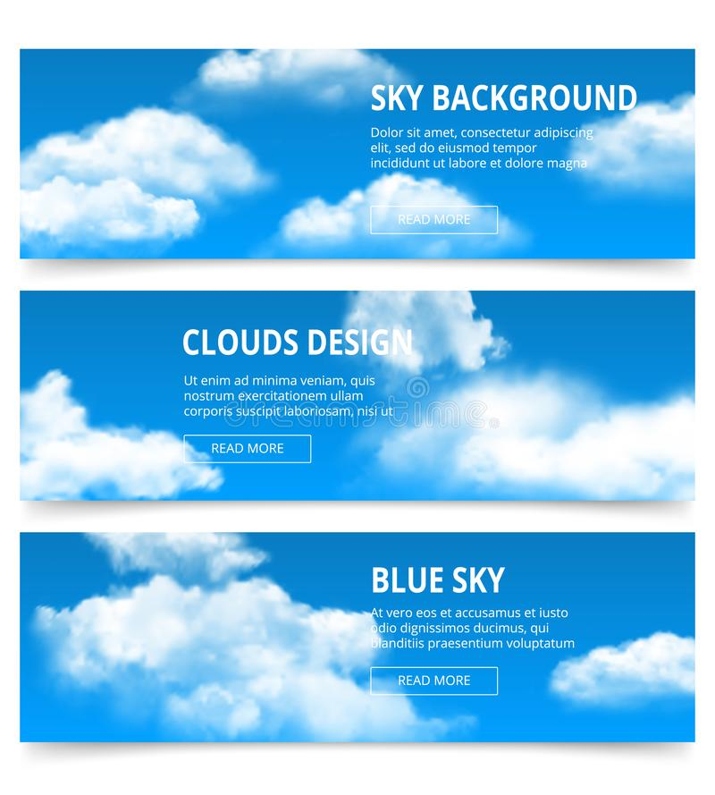 небо знамен пасмурное Реалистические облака выдерживают шаблон вектора после полудня конденсации голубой с местом для вашего текс бесплатная иллюстрация