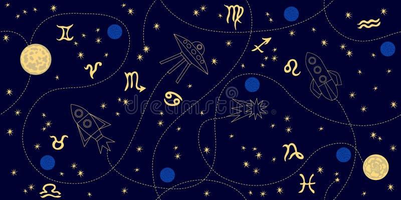Небо зодиака Абстрактная безшовная картина вектора с созвездиями, луной, звездами, космическими кораблями и знаками зодиака бесплатная иллюстрация