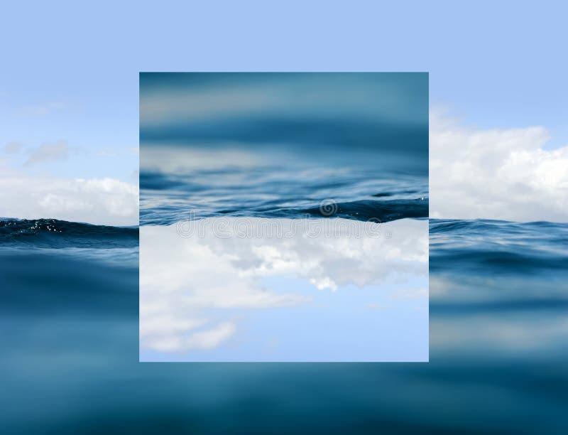 Небо и вода Геометрическое влияние отражений бесплатная иллюстрация
