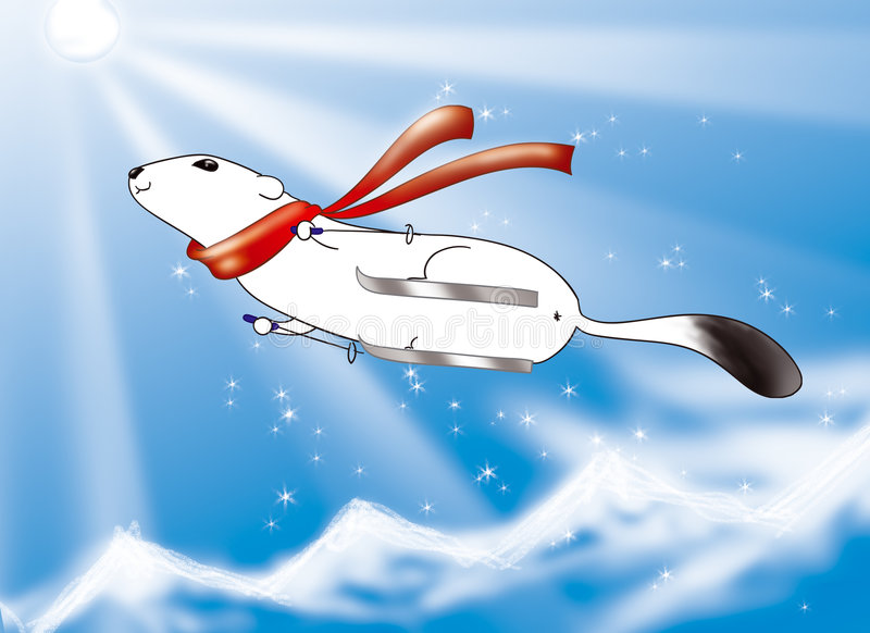небо катания на лыжах иллюстрация штока