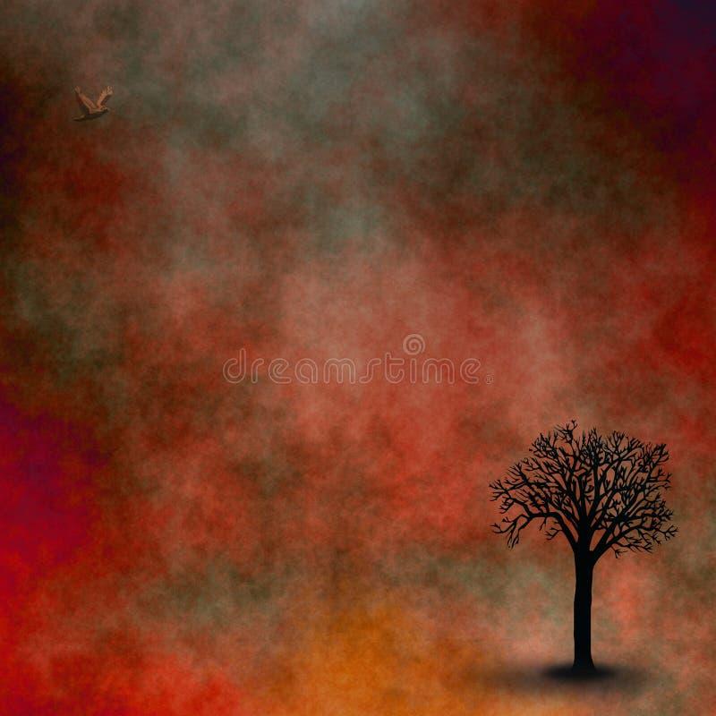 небо красного цвета ландшафта иллюстрация вектора