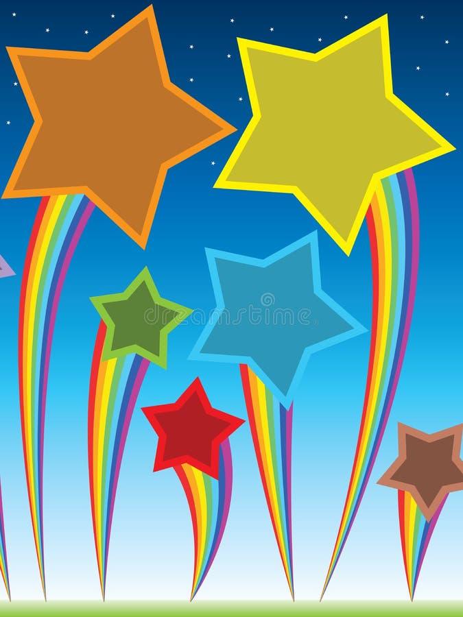 Небо мухы звезды радуги иллюстрация штока