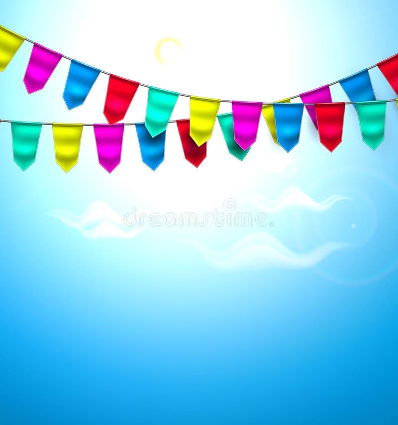 Небо облака флага 3d вектора реалистическое bunting бесплатная иллюстрация