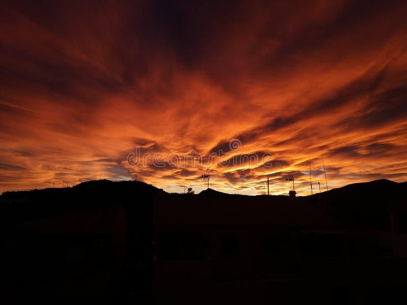 Небо огня стоковая фотография rf