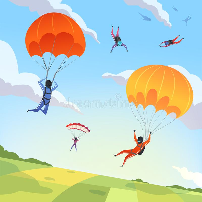 Небо прыгунов парашюта Вектор летая paraplanners представления действия весьма характера адреналина хобби спорта skydiving иллюстрация вектора