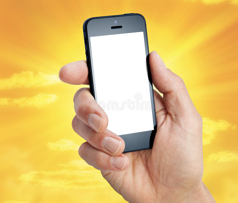 Небо руки сотового телефона стоковая фотография rf