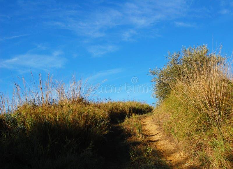 небо Сицилии дороги панорамы страны облаков сини воздуха открытое день осени солнечный Trekking в Италии стоковые изображения rf