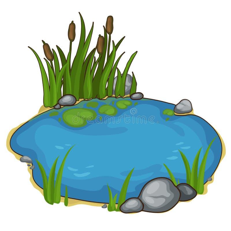 Небольшое озеро с тростниками Вектор в стиле шаржа иллюстрация штока
