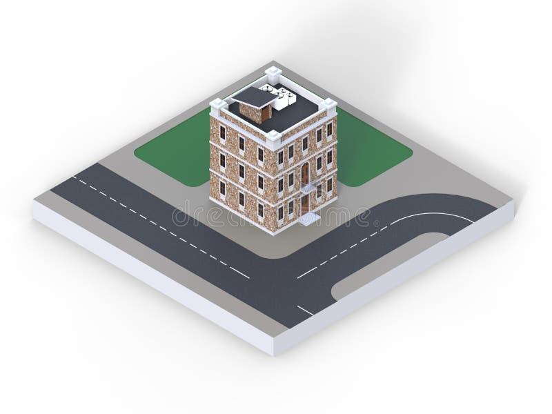 Небольшой дом с 3 полами и взгляд перспективы части городской местности с дорогой, тротуарами и лужайками 3d иллюстрация вектора