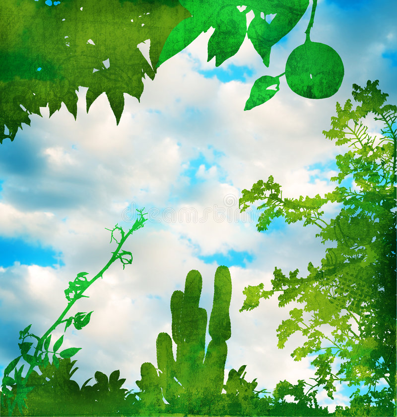 небо grunge сада зеленое иллюстрация штока