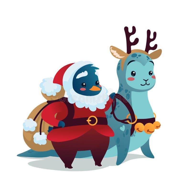 небо klaus santa заморозка рождества карточки мешка Милый пингвин в костюме Санты Klaus с уплотнением катания рюкзака в костюме о иллюстрация штока
