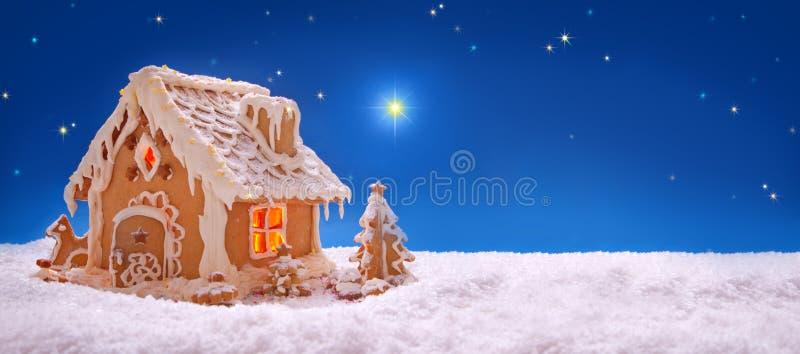 небо klaus santa заморозка рождества карточки мешка Дом пряника праздника стоковые фото