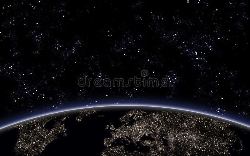 Небо Nigth с землей планеты иллюстрация вектора