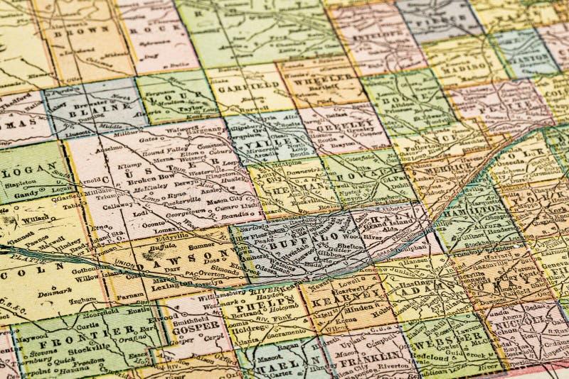Небраска на винтажной карте стоковое изображение rf