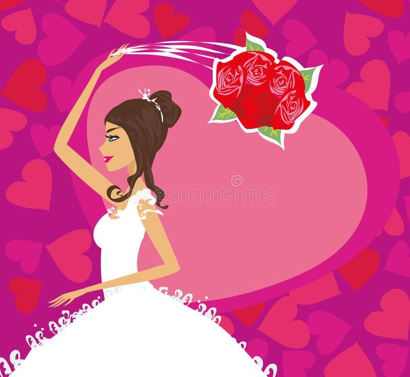 Невеста бросает ее букет свадьбы, карточку иллюстрация вектора