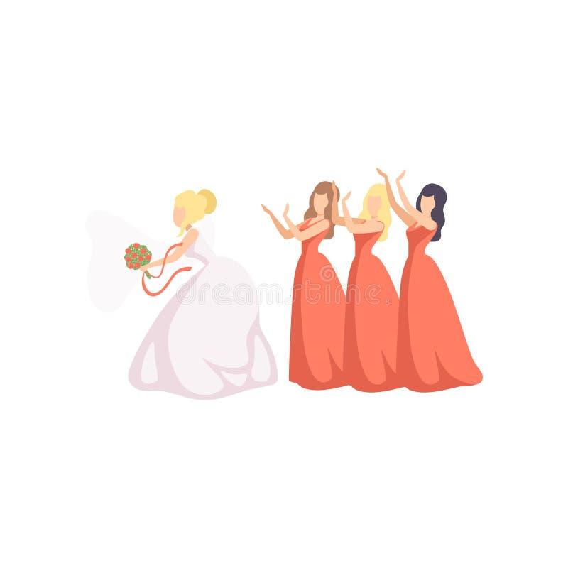Невеста бросая ее букет к bridesmaids на иллюстрации вектора свадебной церемонии на белой предпосылке иллюстрация вектора