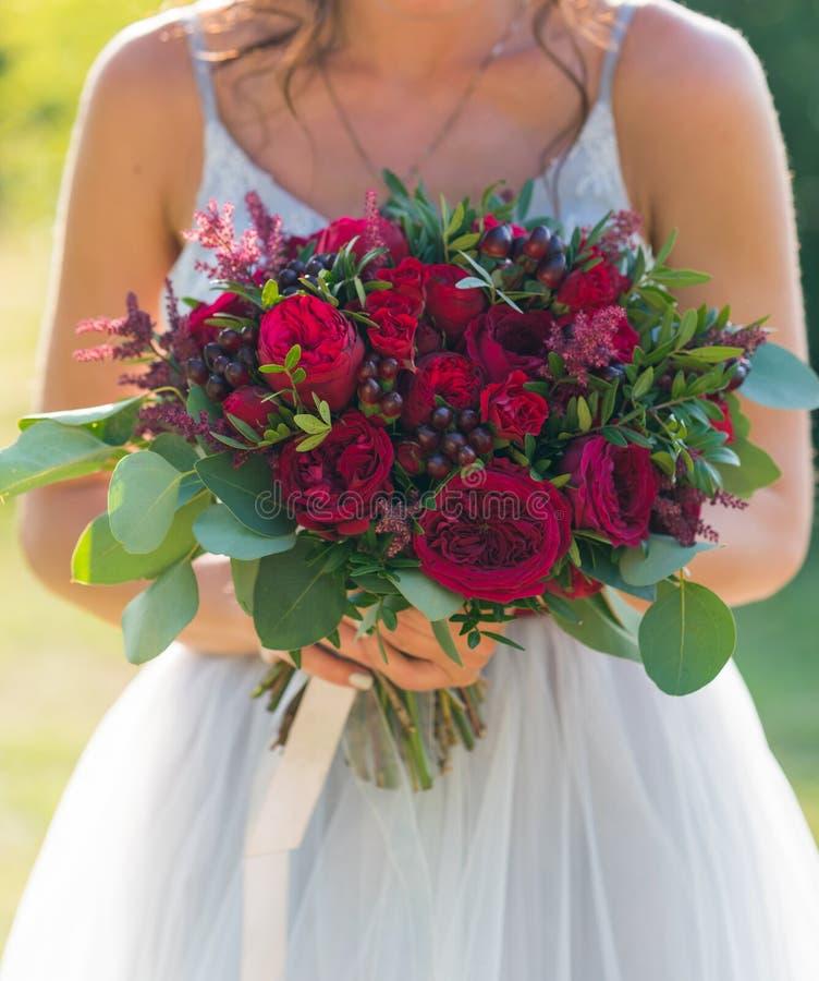 Невеста держит яркий красный букет свадьбы свежих цветков и эвкалипта стоковые фото
