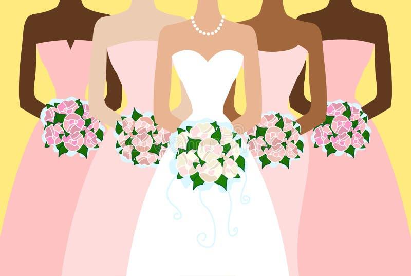 Невеста и подруги иллюстрация штока