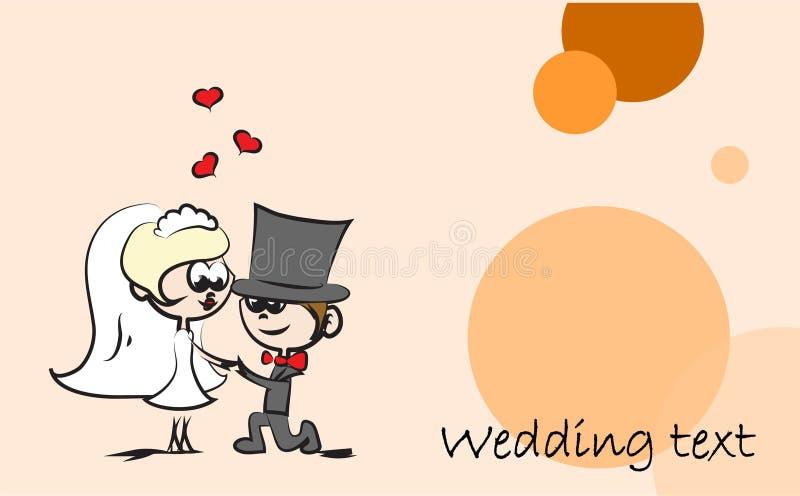 Невеста и groom шаржа венчания иллюстрация штока