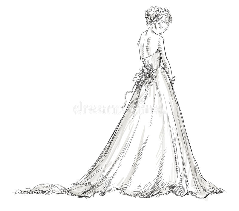 Невеста. Красивая маленькая девочка в платье свадьбы. иллюстрация вектора