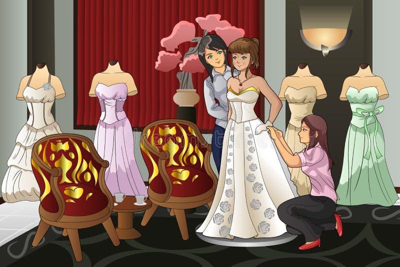 Невеста приспосабливая ее мантию свадьбы иллюстрация вектора