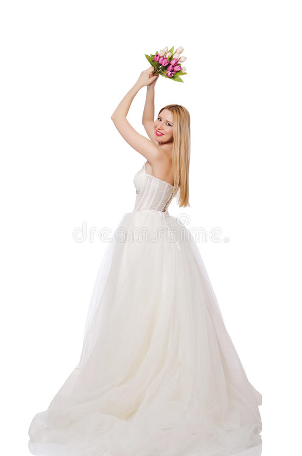 Невеста при цветки изолированные на белизне стоковая фотография rf