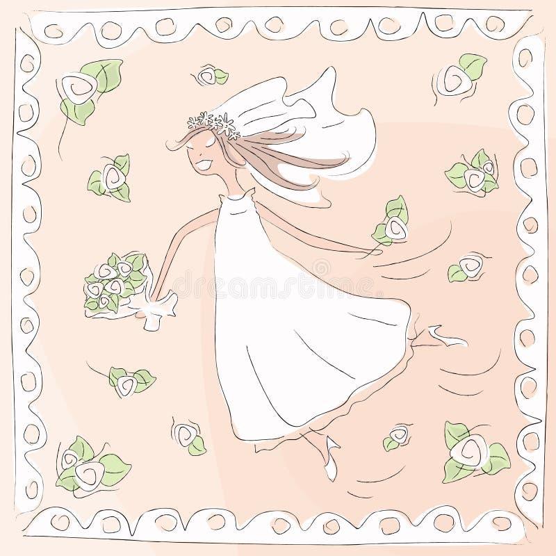 невеста счастливая иллюстрация штока