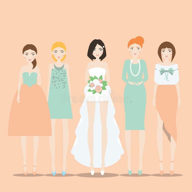 Невеста с иллюстрацией вектора Bridesmaids иллюстрация вектора