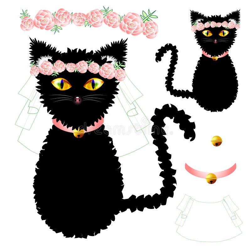 Невеста черного кота с глазами желтого цвета, увенчивает цветок Розы пинка, золотой воротник шарика вектор Валентайн иллюстрации  иллюстрация вектора