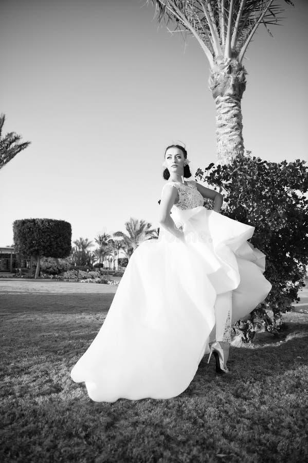 невеста шаловливая Предпосылка природы солнечного дня платья свадьбы невесты роскошная белая троповая Троповая свадьба Носка женщ стоковые изображения rf