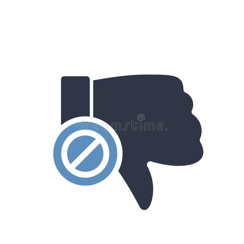 Невзлюбите значок, значок жестов с позволенным знаком Запрещенные значок и блок нелюбов, запрещают символ иллюстрация вектора