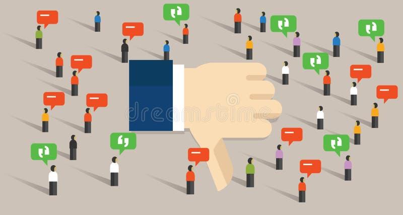 Невзлюбите обзор неудачи интернета связи общества людей толпы средств массовой информации больших пальцев руки вниз социальный иллюстрация штока