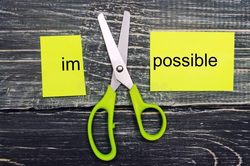 Невозможна возможная концепция карточка с текстом невозможным, ножницы отрезала слово к им концепция успеха и возможности Я могу, стоковая фотография rf