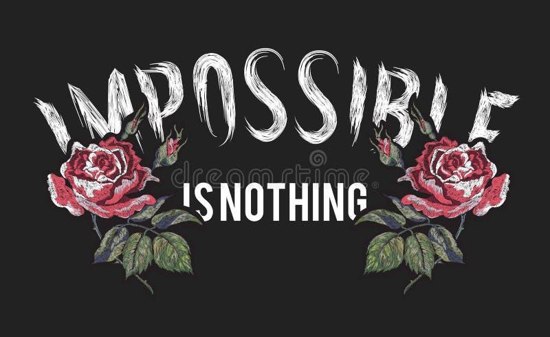 Невозможно ничего лозунг с вышитыми красными розами бесплатная иллюстрация