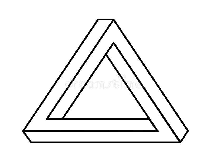 Невозможный треугольник с черными линиями иллюстрация штока