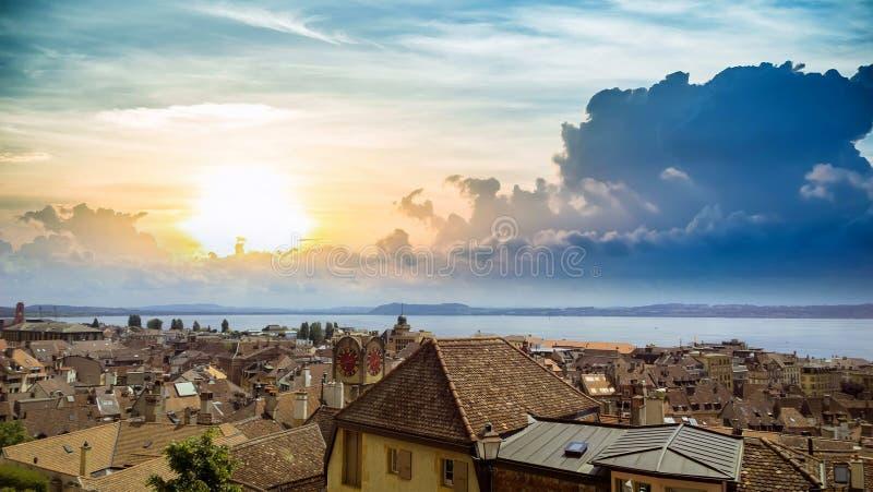 Невшател, швейцарец, панорама озера стоковая фотография rf