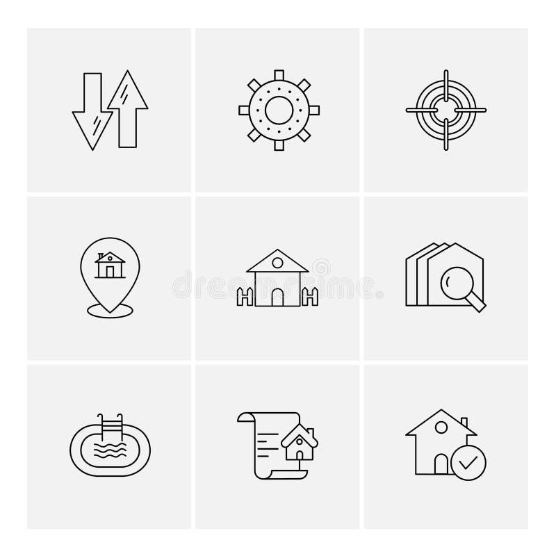 недвижимость, дом, свойство, деньги, вектор значка eps установленный иллюстрация вектора