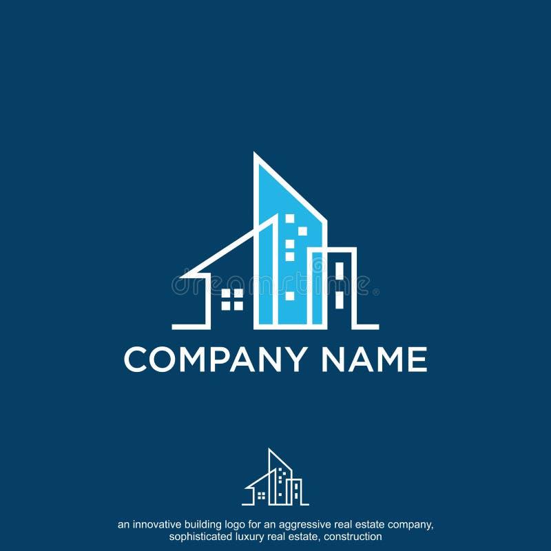 недвижимость, логотип конструкции иллюстрация штока
