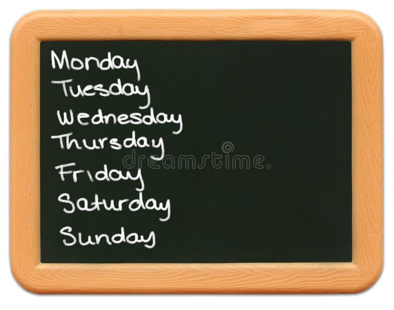 неделя дней миниая s ребенка chalkboard стоковое изображение rf