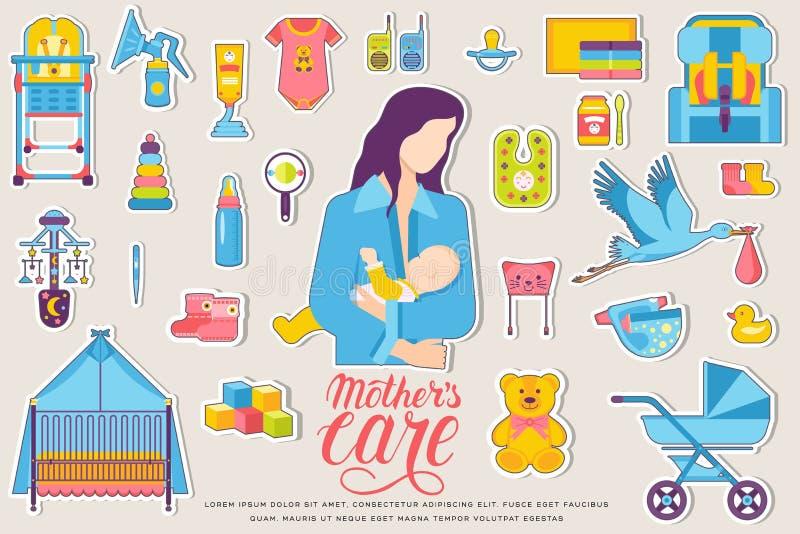 Неделя мира кормя грудью элементы flyear, журналы детей, плакаты, обложка книги, знамена Концепция приборов infographic иллюстрация штока