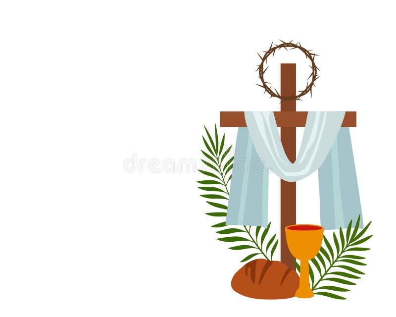 Неделя христианского знамени святая с собранием значков об Иисусе Христе концепция пасхи и ладони воскресенья плоско иллюстрация штока