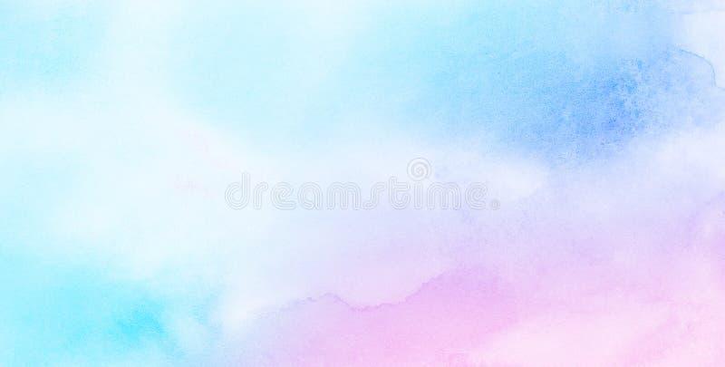 Нежная голубая, пурпурная и розовая предпосылка акварели теней для винтажной карты, ретро шаблона стоковое изображение rf