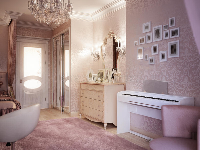 Нежная и яркая розовая комната ` s детей бесплатная иллюстрация