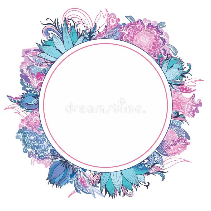 Нежная рамка розового и голубого вектора флористическая иллюстрация штока