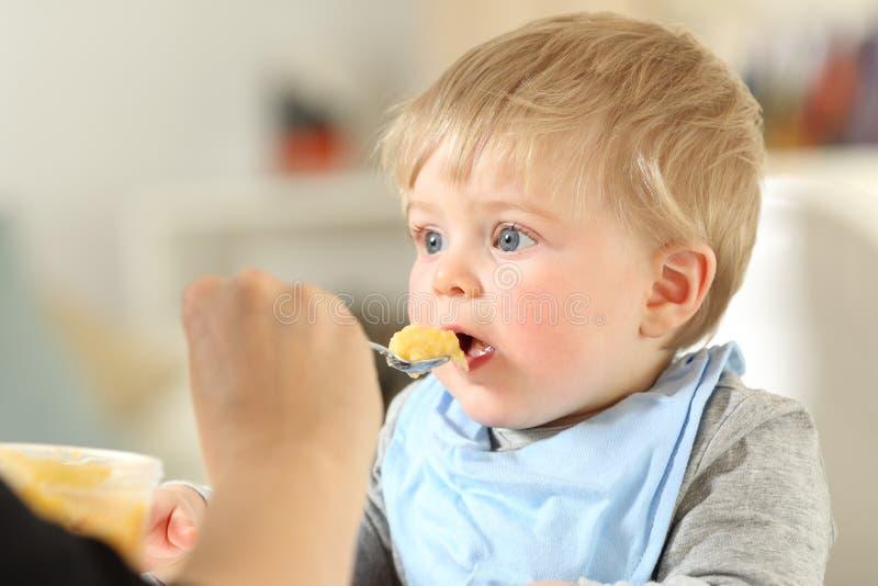нежность мати глаза младенца подавая сфокусированная фокусом стоковая фотография rf