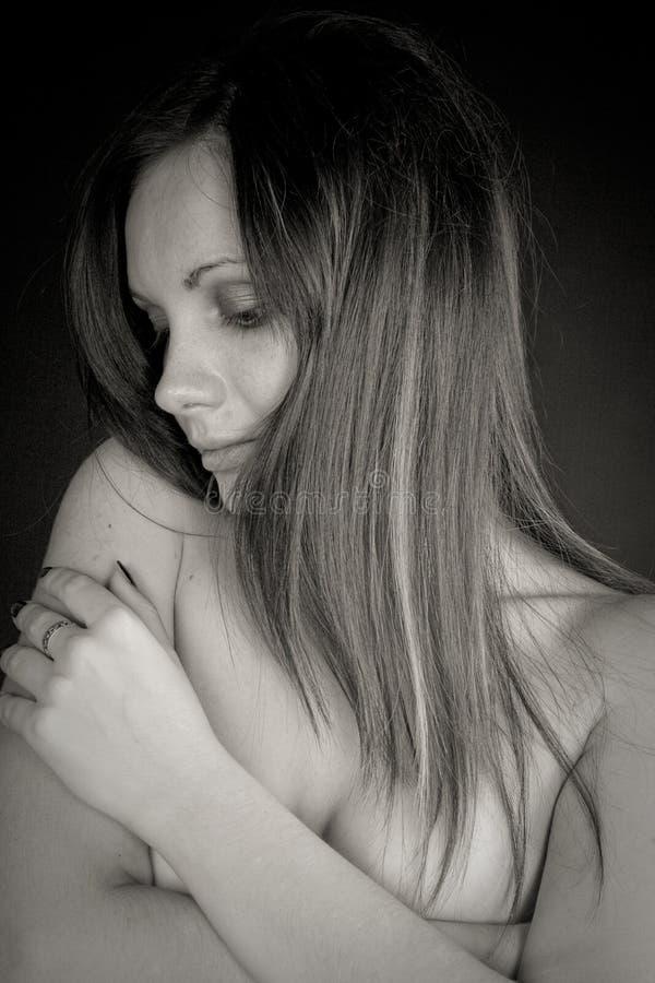 нежность портрета обнажённого девушки стоковое изображение