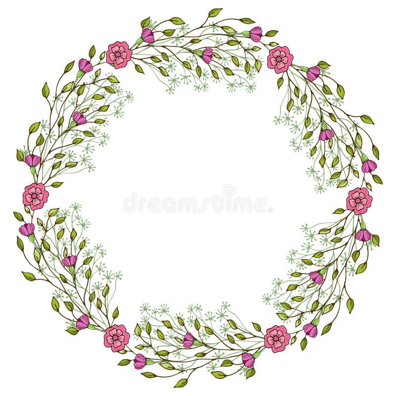 Нежные цветки лета аранжировали в форме сердца Doodle тип бесплатная иллюстрация