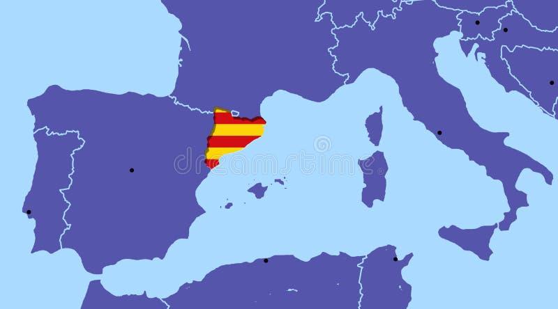 Независимость Барселона референдума Испании Каталонии карты иллюстрация вектора