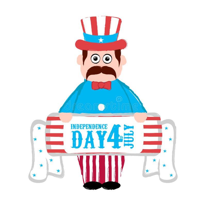 независимость дня счастливая 4-ое июля иллюстрация штока