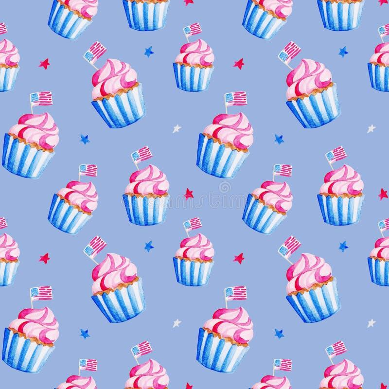 Независимость иллюстрации США Картина пирожного акварели для 4-ое -го июль Дизайн на праздники, печать, знамя бесплатная иллюстрация